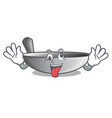 crazy frying pan wok isolated on mascot vector image vector image
