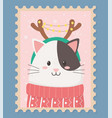 cute cat celebration happy christmas stamp vector image