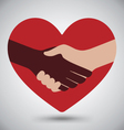 Diversity Handshake On Red Heart vector image vector image
