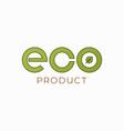 eco product logo on white emblem background vector image