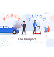 eco transport electric scooter petrol car problem vector image vector image