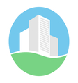 Emblem with buildings in eco place isolated on vector image vector image