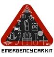 emergency road kit items set car service vector image