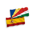 flags seychelles and spain on a white vector image