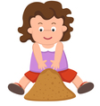 girl playing sand vector image vector image