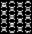 halloween cartoon skull with bones pattern vector image vector image