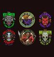 halloween vintage colorful emblems vector image vector image