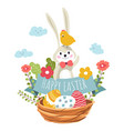 happy easter bunny and bird sitting in woven vector image vector image