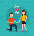 happy man on his knee proposal woman vector image