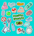 healthy lifestyle sport doodle with gym vector image vector image