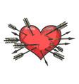 heart symbol pierced with arrows sketch engraving vector image vector image