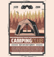 hiking club forest camping travel adventure vector image vector image