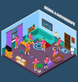 housewife isometric composition vector image