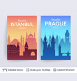 istanbul and prague famous city scapes vector image vector image