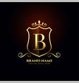 letter b ornamental golden logo concept design vector image vector image
