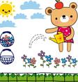 little bear in his garden vector image vector image