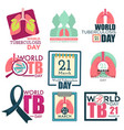 lungs and magnifier world tuberculosis day vector image vector image