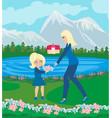 mother and daughter walking in garden vector image