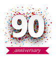 Ninety paper confetti sign vector image vector image