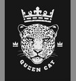 queen cat crown and face a leopard t-shirt vector image vector image