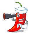 sailor with binocular hot chili pepper on cartoon vector image vector image