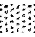 seamless pattern with animals logos vector image vector image