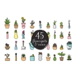 set 45 flower pots and vases hand drawn vector image