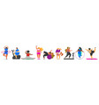 set fitness woman health sport in club cute vector image