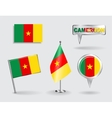 Set of Cameroon pin icon and map pointer flags vector image vector image