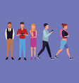 set of people walking vector image vector image