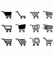 simple shopping cart icons set vector image vector image