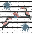 toucan bird seamless pattern with black stripes vector image
