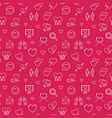valentines day outline red seamless pattern vector image vector image