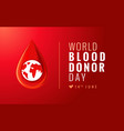 world blood donor day red poster vector image vector image