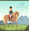 young girl jockey riding brown horse with yellow vector image