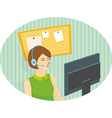 girl operator in headphones looking at the monitor vector image