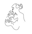abstract portrait a mother kiss baby vector image