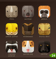 animal faces for app icons-set 24 vector image