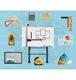 Architect Panel board planning and creating vector image vector image