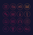 audio music and sound line icons set vector image vector image