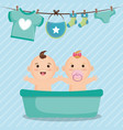 baby shower card with little kids vector image vector image