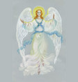 beautiful angel with wings on grey background vector image