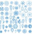 Blue Floral Icon Set vector image vector image