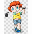 boy playing golf on transparent background vector image vector image