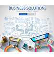 Business Solutions concept with Doodle design vector image vector image