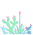 cactus set card in pastel colors vector image
