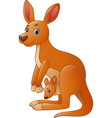 cartoon red kangaroo carrying a cute joey vector image vector image