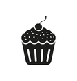 Cherry cupcake icon on a white background vector image vector image