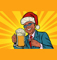 christmas and new year man with a mug of beer vector image