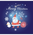Christmas background with Santa Claus and snowman vector image vector image